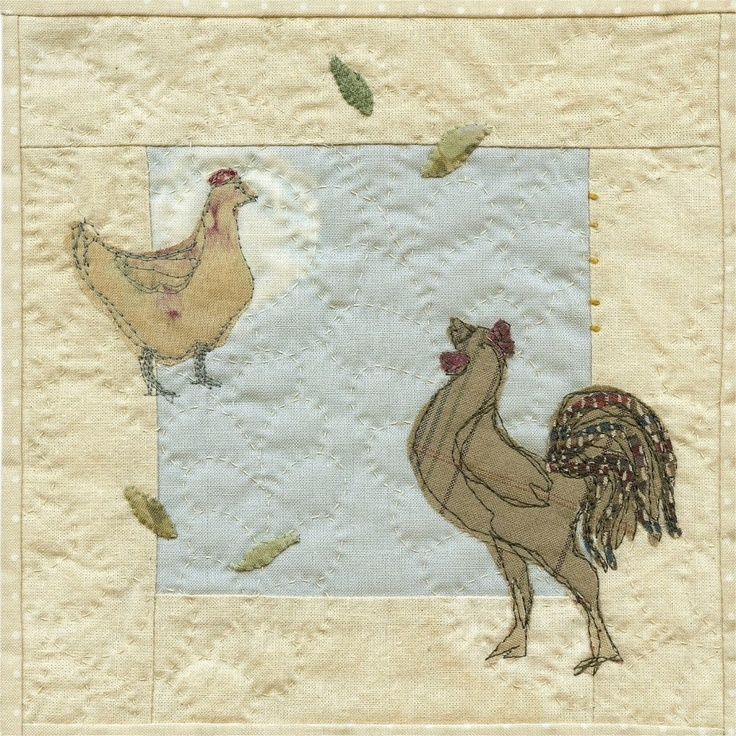 Rooster and Hen applique picture pattern by JanetClare on Etsy