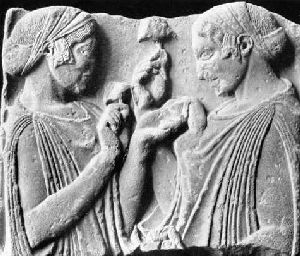 ancient Greek maidens with mushroom, thought to have been used in mystery rites.