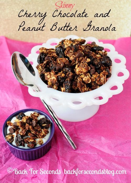 Skinny Cherry Chocolate and Peanut Butter Granola made with oats, chia ...