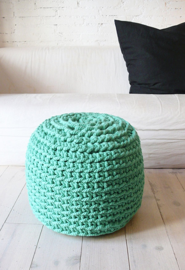 Crocheting With Thick Yarn : Pouf Crochet thick yarn - Grayed Jade. ?85,00, via Etsy.