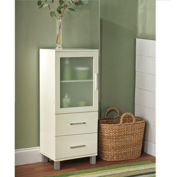 Linen Cabinet With Drawers Glass Door Bathroom Linen Floor Home Decor