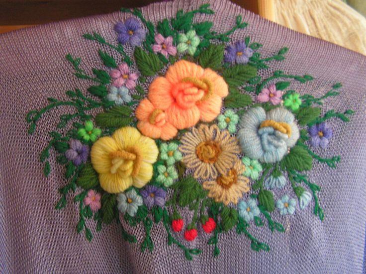 Вышивка по трикотажному полотну цветы 100