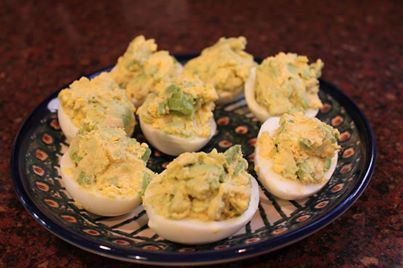 Avocado Deviled Eggs 6 hard boiled eggs 1 medium avocado, diced small ...