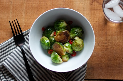 Stir fried Brussels sprouts with garlic and chile, made from Andy ...