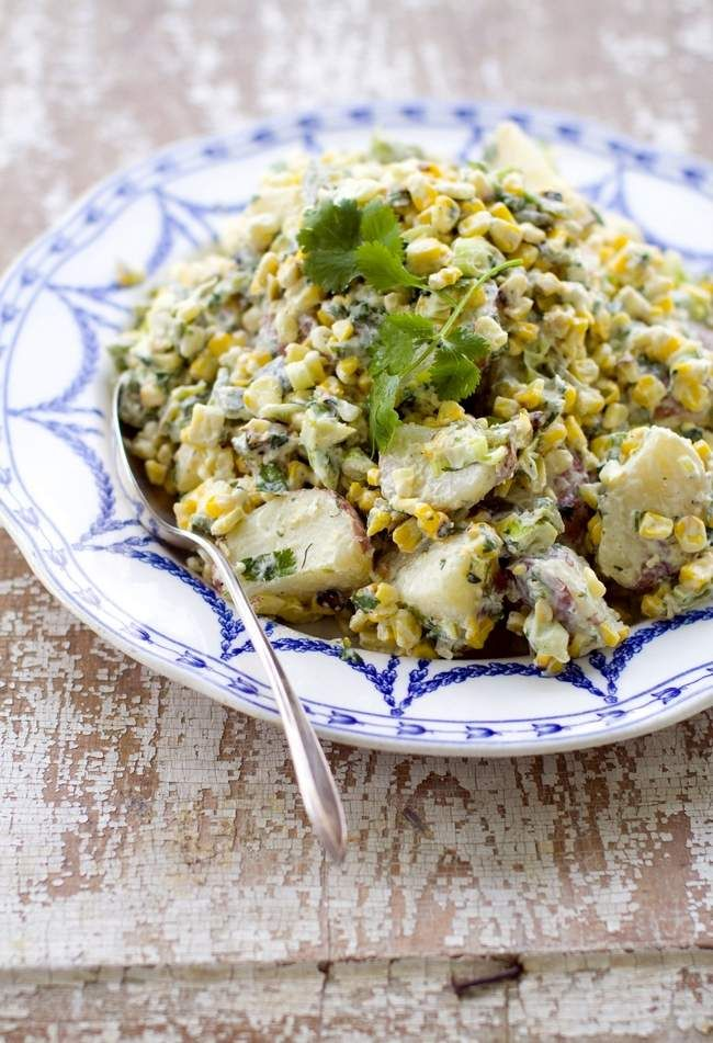 GRILLED CORN AND POBLANO POTATO SALAD | Food from Mexico | Pinterest