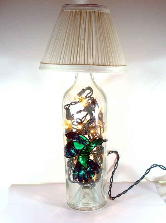 hummingbird hand painted wine bottle lamp with mini lamp shade. Black Bedroom Furniture Sets. Home Design Ideas