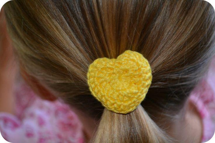 Crochet Hair Ties Pinterest : Crochet Heart Hair Tie Free Pattern Crochet Pinterest