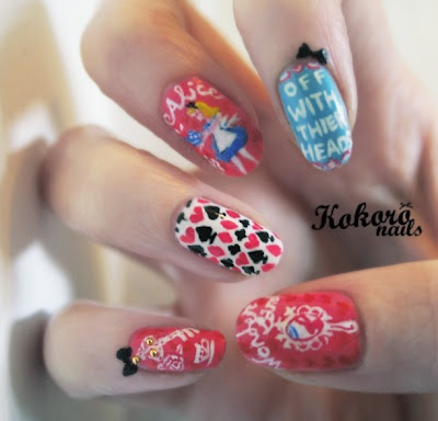 kokoro nails: ALICE IN WONDERLAND NAIL ART : a nail art blog by a nail polish obsessive
