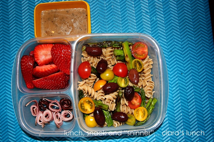 Whole wheat pasta salad with grilled asparagus (leftover from dinner ...