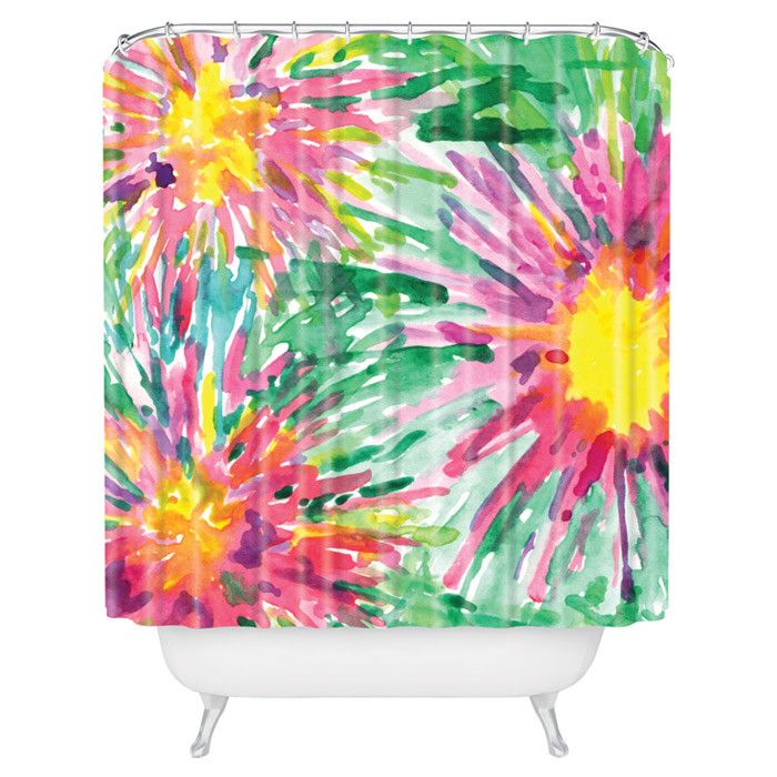 bright floral confetti shower curtain for the home