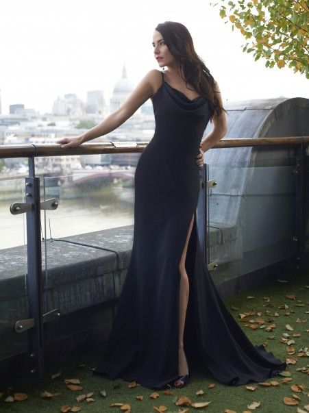 Stephanie Allin Couture. Incredible fit. Gorgeous black high leg slit red carpet gown