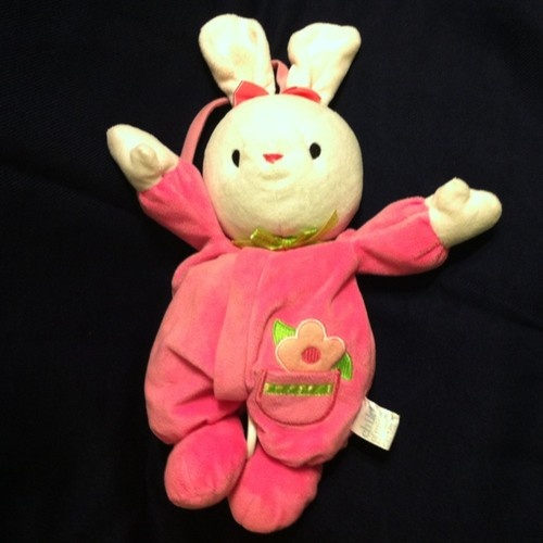 $29.99 Carters Child Of Mine Pink Bunny Rabbit Baby Crib Pull Toy Musical Plush Lovey