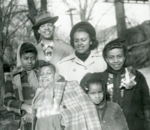 Vintage 1950 s photograph african american family posing on sidewalk