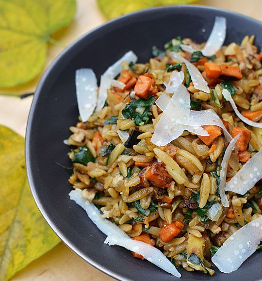 Orzo with caramelized Autumn vegetables.