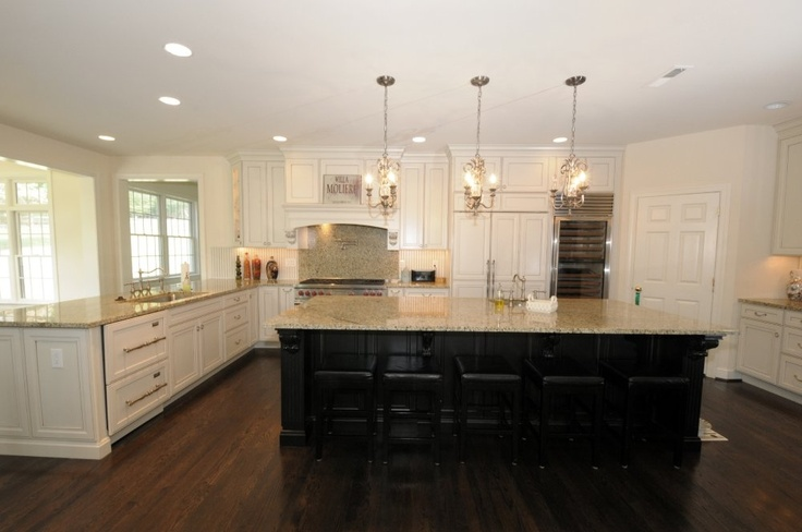 Off white cabinets with dark island  My Kitchen  Pinterest