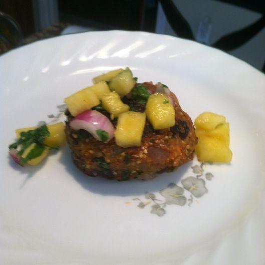 Vegan Black bean mini patties with pineapple sauce. Recipe by Chloe ...