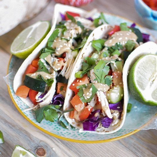 Thai chicken tacos are cooked to perfection and tossed with fresh ...