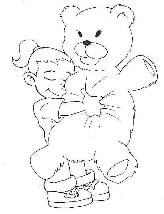 The Girl Hug A Bear Coloring Page