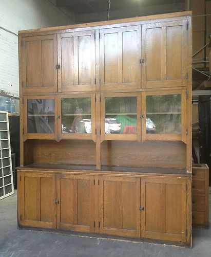 Antique Large Oak Butler 39 S Pantry Cabinet Cupboard Storage