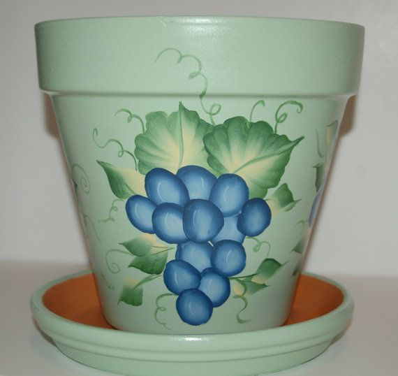 hand painted clay flower pot one stroke grapes design 8 inches tall. Black Bedroom Furniture Sets. Home Design Ideas