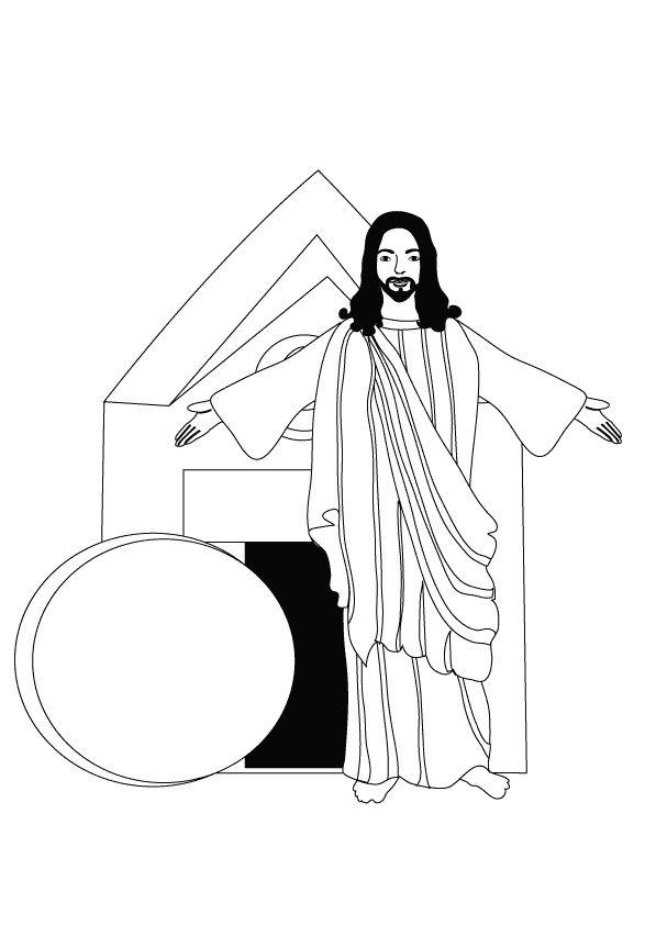 Risen Jesus Coloring Page