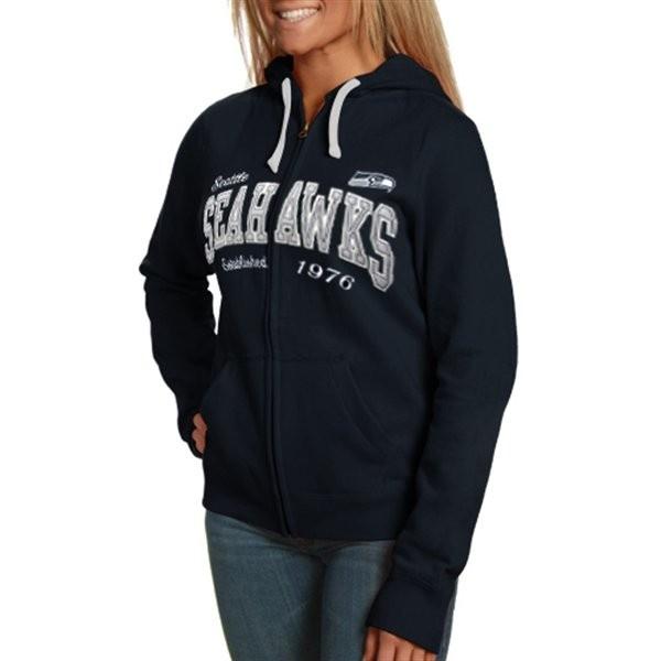 Seattle Seahawks Ladies Second Round Full-Zip Hoodie Sweatshirt - Navy