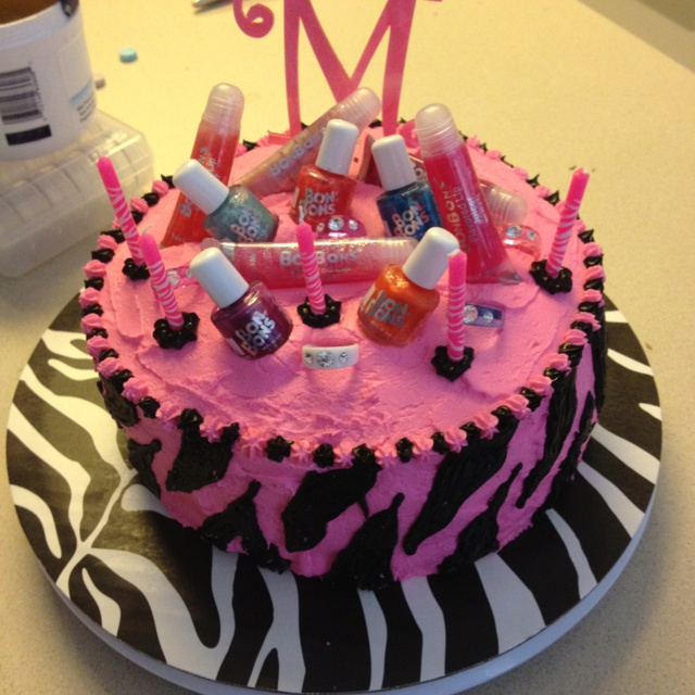 Here is a birthday cake I did for a girl s spa party ...