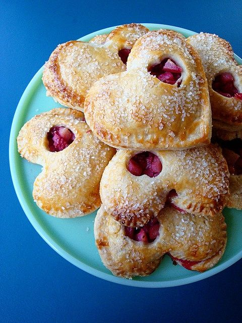 Pear raspberry hand pies for Valentine's Day care package..