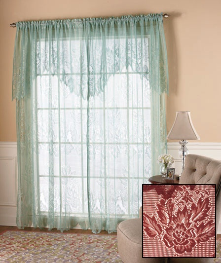 Lace Curtain with Attached Valance | The Lakeside Collection$6 panel ...