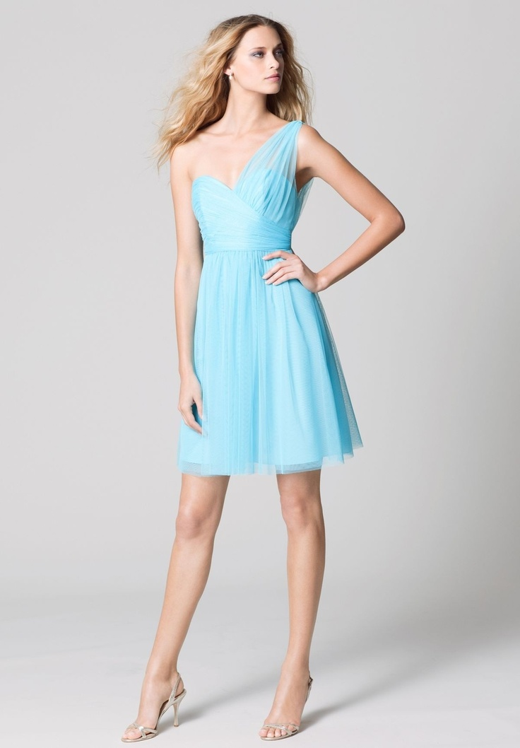 Blue sweetheart short bridesmaid dress