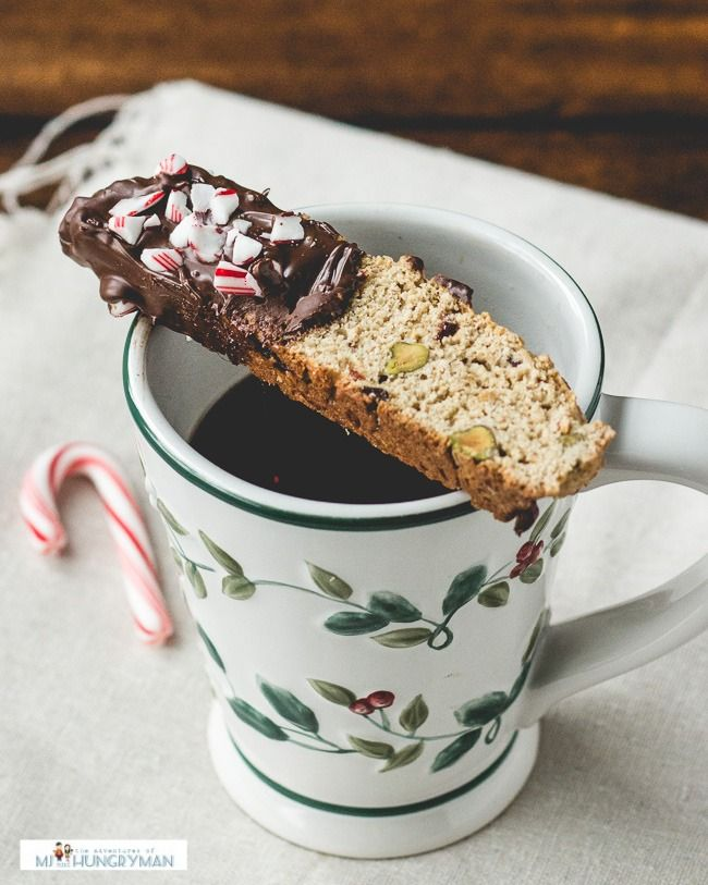 Cranberries and Pistachio Biscotti Dipped in Peppermint Chocolate