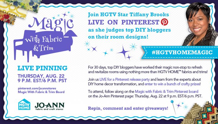 Join us and HGTV Star host @Tiffany Brooks - Chicago Interior Designer on 8/22 @ 9pm Eastern for a LIVE! Pinterest Party! See how top DIY bloggers @Tatertots and Jello .com  , @Jamielyn {iheartnaptime.net}  , @U Create  and @Beckie Farrant {infarrantly creative}  have redone their rooms with @HGTV HOME fabric and trim and you'll have a chance to win fabric from the new line!