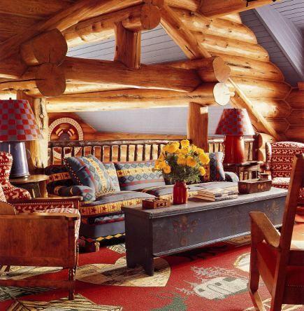 haute log cabin decor atticmag living room den pinterest