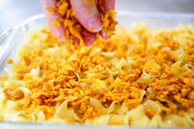 Peach Noodle Kugel (cornflakes, peaches, lemon zest)