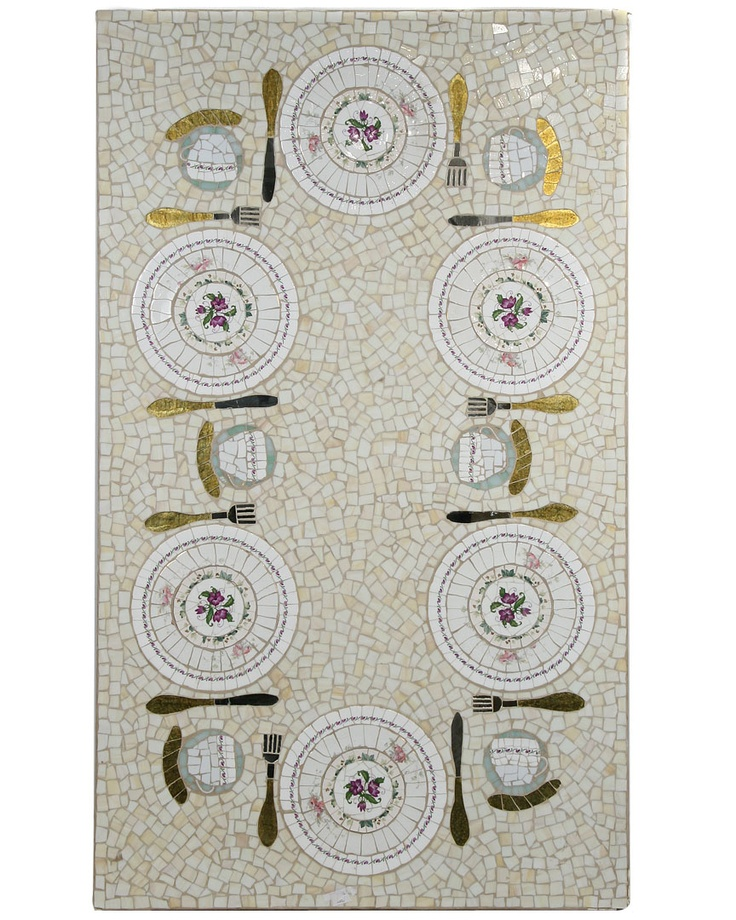 set dining room mosaic table from ercole mosaics tiles