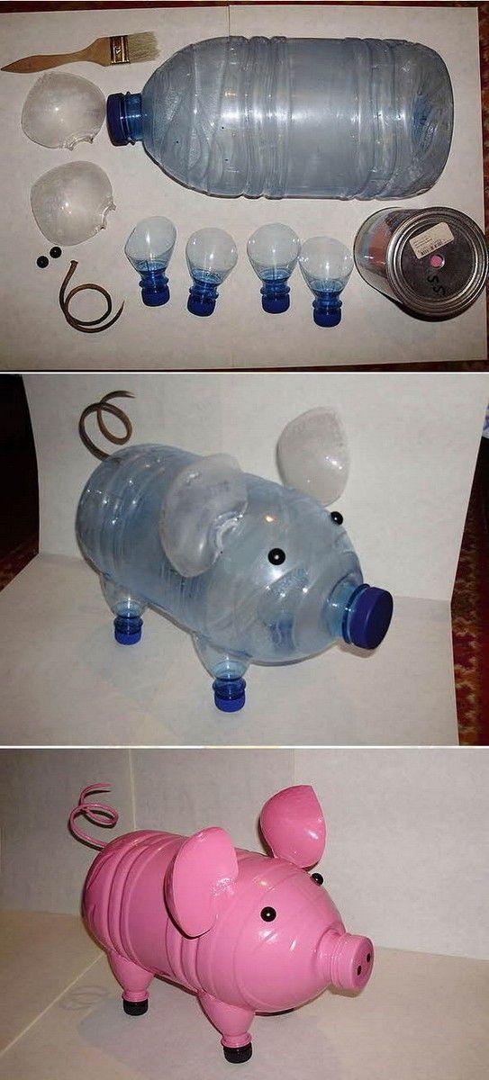 Как сделать поросенка из пластиковых бутылок