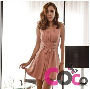 Pink Unique Style Sleeveless Mini Dress with Corset Shape Belt at The