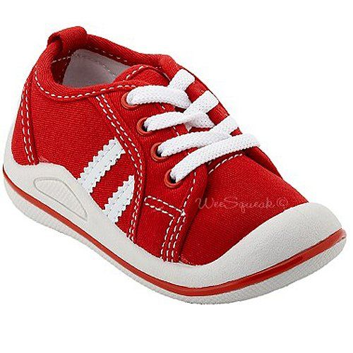 Wee Squeak Baby Toddler Little Girls Sneakers Red White Tennis Shoes