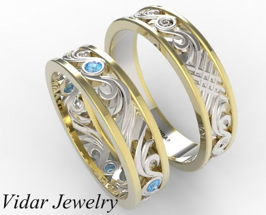 His and hers blue diamond wedding band set unique matching wedding ba