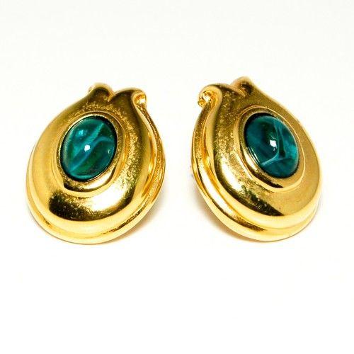 Vintage Fendi Earrings Gold with Green Stone 1980s Runway Style | eBay