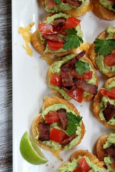 Grilled Cheese Guacamole and Bacon Bruschetta)