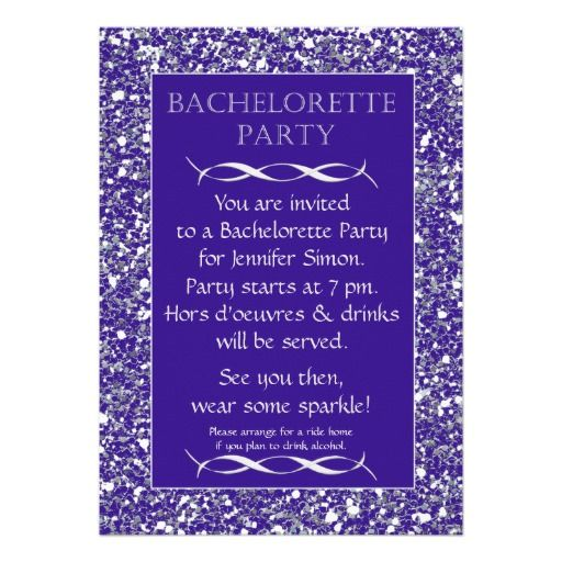 Best place purple sparkle look bachelorette party invitation purple