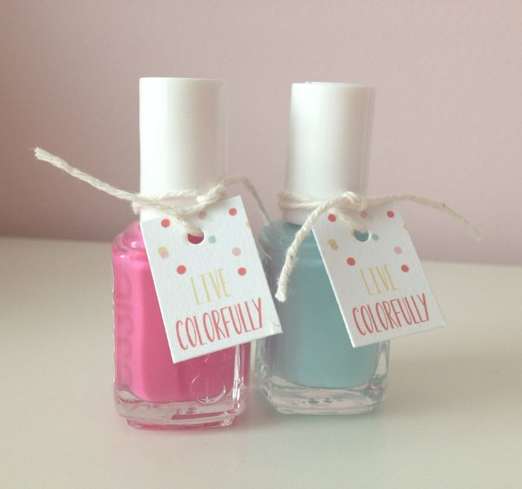 Bridal shower baby shower favor tags nail polish favor tags party