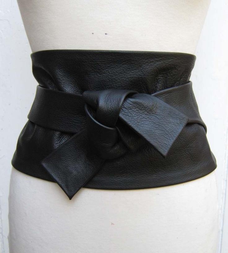 black leather wide obi cinch corset style wrap belt