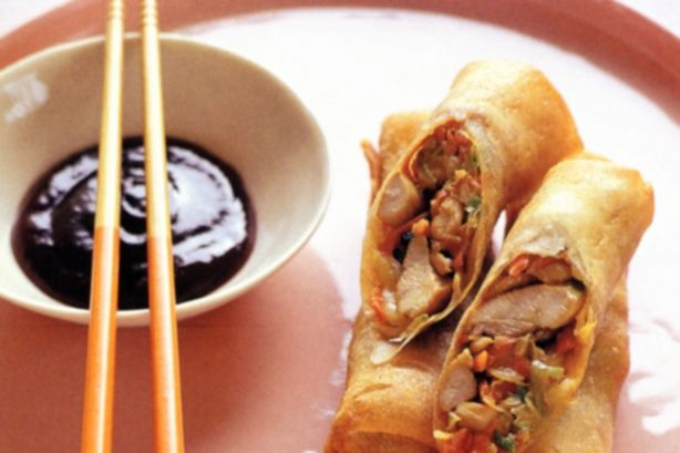 Chicken and vegetable spring rolls - using spring roll wrappers