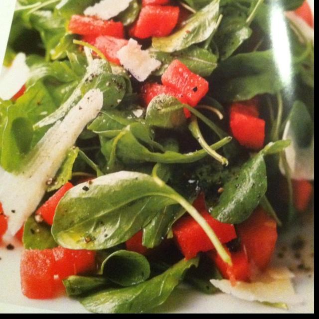 Arugula, watermelon and shaved Parmesan salad with lemon olive oil ...