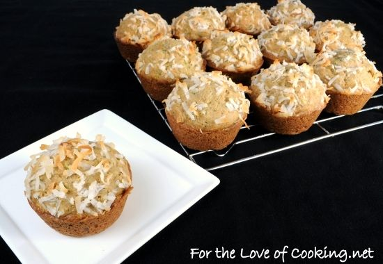 Coconut zucchini muffins (fortheloveofcooking.net)