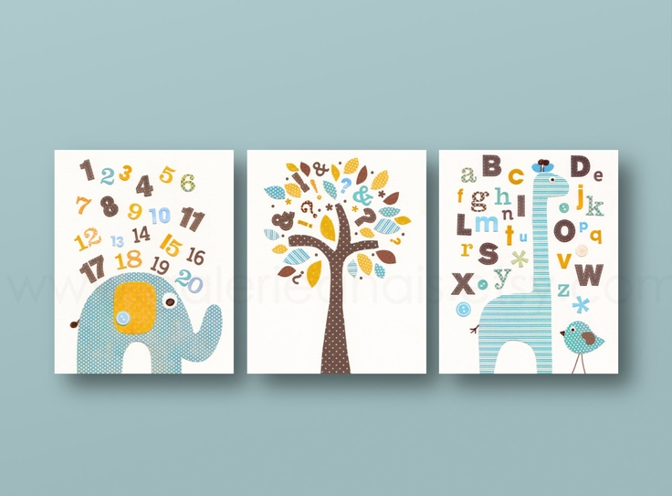 Nursery Art Print Baby Boy Nursery Nursery Wall Art Alphabet Gira