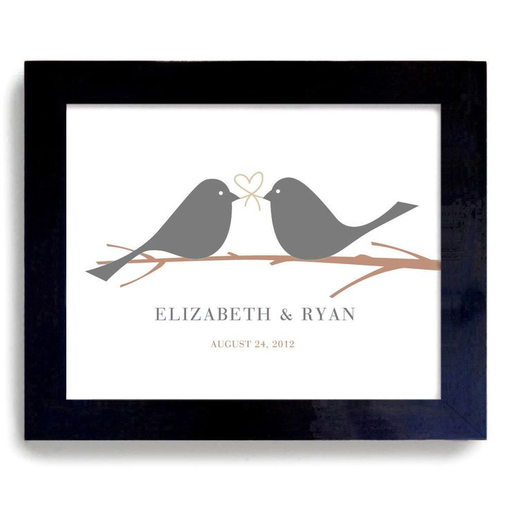 Wedding Gift Ideas The Knot : Wedding Gift Idea Love Birds Art Print Couples Tie the Knot ...