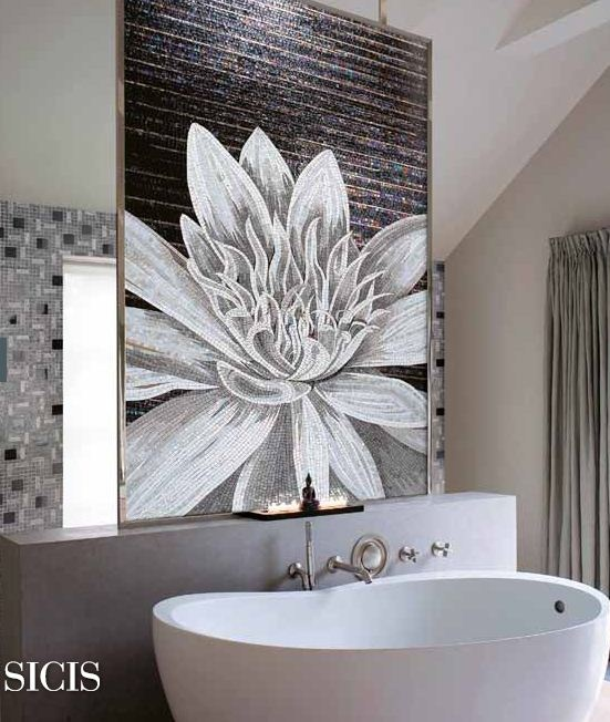 Model Awesome Bathroom Wall Tile Designs Pictures With Flower Stroovi